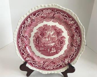 "Vintage Mason's Vista Ironstone Pink Transferware 10 3/8"" Dinner Plate"