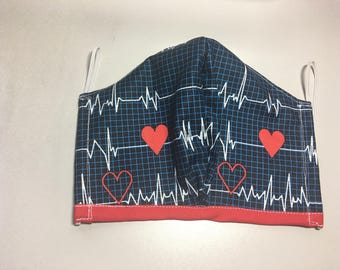 Heartbeat on blue back ground face mask