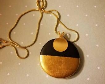 Color Blocked Clay Pendant Necklace - The Hidden Bin