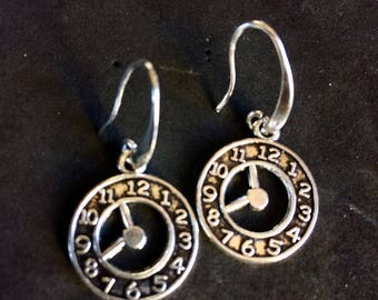 Clock Charm Earrings Antique Silver On Comfort Hook or Surgical Steel