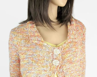 Mother of Pearl - Multicolor t 42 L - women hand knitted bolero jacket