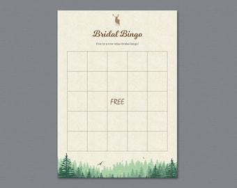 Woodsy Bridal Shower Bingo Game Card, Trees, Greenery Bachelorette Bingo, Bridal Shower Games, Instant Download, Plants Wedding Bingo, A010