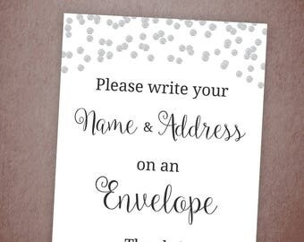Name and Address Sign Printable, Envelope Sign, Please Write Your Name and Address on the Envelope, Silver Confetti Bridal Shower Sign, A003