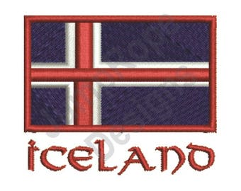 Flag Of Iceland - Machine Embroidery Design