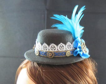 Black Mini Top Hat Fascinator Steampunk