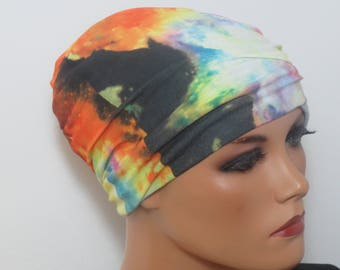 NIGHT/sleep long Hat stained chemo Hat very stretchy without noticeable seams chemotherapy alopecia hair loss rather than wig