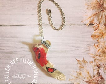 Beautiful Wild Fox Jaw Pendant and Silver Plated Chain, Real Genuine Bone - Red Poppy and Butterfly Taxidermy Macabre - Remembrance