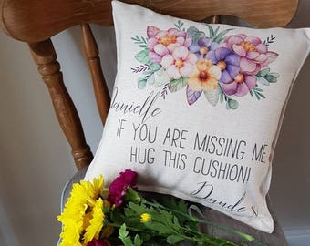 Personalised Miss You Gift, Miss You, Personalised Cushion, Gift For Long Distance, Long Distance Relationship, Floral Cushion