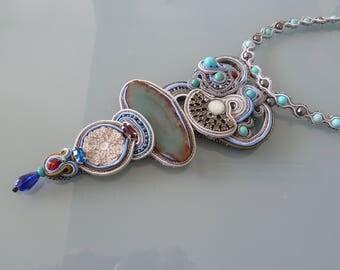 Necklace Choker, technique soutache, completely handmade