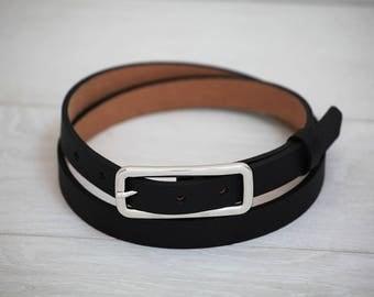Leather Belt, Black Leather Belt, Black Womens Belt, Skinny Belt, Thin Belt, Dress Belt