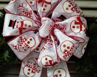 Snowman Bow, Christmas Bow, Winter Bow, Red and White Snowman Bow, Wreath Bow, Holiday Bow, Gift Bow, Lantern Bow, Christmas Tree Bow