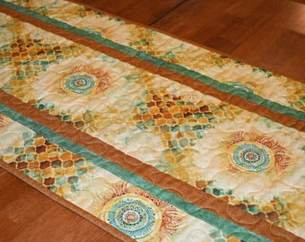 Gold and Green Quilted Table Runner, Southwestern Table Runner, Gold Table Runner, Earth Tones Runner, Quilted Table Runner, Southwest Decor