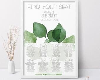 Printable Wedding Seating Chart, Green Wedding Seating Chart, Wedding Reception Seating Chart, Seating Chart Wedding, Printable Wedding