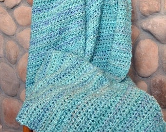 Turquoise crocheted blanket; Large turquoise throw; Large crocheted blanket