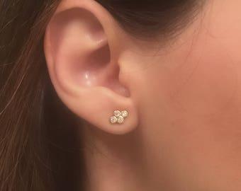 Gold Dainty Stud Earrings. Small CZ Studs. CZ Sterling Silver Post Earrings. Minimalist Earrings.