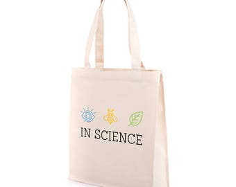 I Believe In Science Tote Bag | Recycled Canvas Tote | Climate March Tote Bag | Science March Tote Bag | Science Tote | Environmental Tote