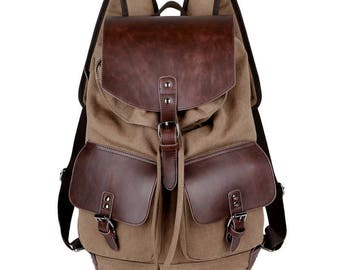 Canvas and Leather backpack for Men