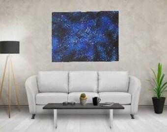 Large Original Acrylic Abstract Painting Starlight Night Modeling Paste 3D Canvas Splashing Painting XL Contemporary Art Night Sky