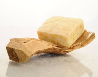 Natural Handmade Soap with Shea Butter, Goats Milk and Calendula  - Honeysuckle Fragrance