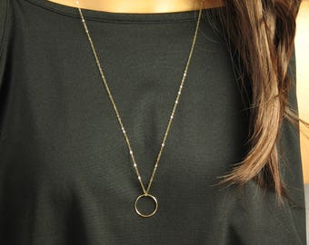 "Long Gold Chain Necklace, Gold Circle Necklace, Double Wrap Necklace, Gold Karma Circle, Ring Necklace, Up to 48"" in 14k Gold Fill"