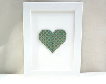 Hanger - heart origami - Emerald and gold - 'My heart, my love' Collection
