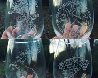 Game of thrones Collectors Edition 4 pack of wine glasses Stark Lannister Baratheon Targaryen Laser engraved gift pack