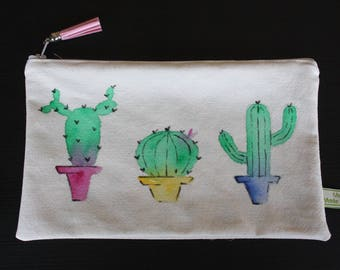 Zipper pouch made of natural organic cotton woven in France