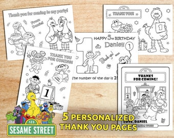 Sesame Street THANK YOU Coloring Pages / Personalized / Birthday Party / Printable / Digital PDF