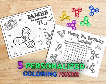 Fidget Spinner Birthday Party Coloring pages / Hand spinner party / Printable / ANY AGE / Digital / PDF