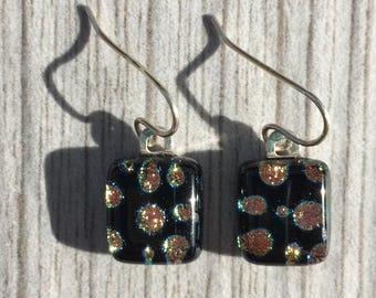 Dichroic Fused Glass Earrings - Pink and Yellow Dot Pattern on Black with Solid Sterling Silver Ear Wires