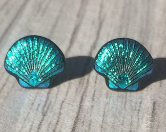 Dichroic Fused Glass Stud Earrings - Teal Green Scallop Shell Laser Engraved Etched Studs with Solid Sterling Silver Posts
