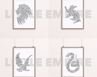 Full Black & White House Set. Gryffindor Hufflepuff Ravenclaw Slytherin. Silhouette Crest. Calligraphy Art Print. Instant Download. A4 Size.