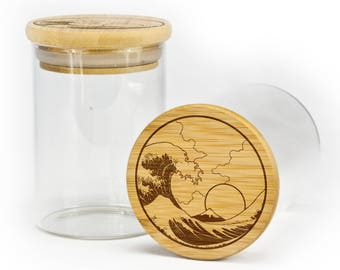Stash jar with airtight silicone seal Tsunami Wave Design storage jar container.
