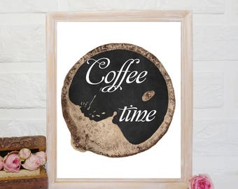 Coffee time print, coffee Printable, kitchen wall decor, coffee Wall art, Coffee poster, coffee Quotes, Kitchen poster, coffee lover gift