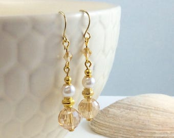 Champagne Swarovski Crystal Pearl Gold Accent Drop/Dangle Earrings with 18kt gold plate wires