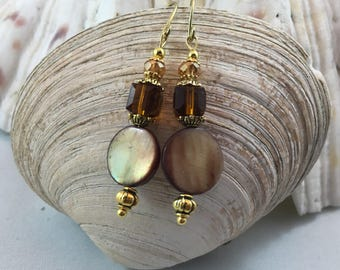 Smokey Topaz Brown Quartz Mother of  Pearl Shell Dangle/Drop Earrings 18ct Gold PlateWires