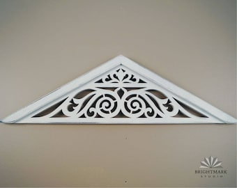 Pediment scrollwork ~ Farmhouse Window Decor for Home and Living * This Gable Design is made from Chippy White Paint. French Country Decor