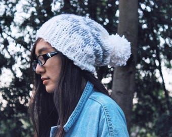READY TO SHIP! Chunky Knit Oversized Slouchy Beanie with White and Gray Fair Isle