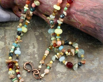 "NEW Viking inspired necklace 19.5"",double strand,multiple colors,stone beads and chips,copper twist hook, fire polished beads,N084"