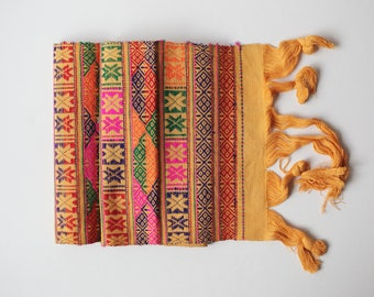 Traditional Hand-embroidered Runner with Geometric Patterns, Made in Bhutan