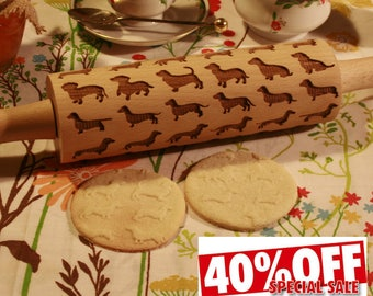 Dachshund dog Embossing Rolling Pin. Dachshunds Dog pattern. Engraved rolling pin with Dachshunds for embossed cookies Baking Gift