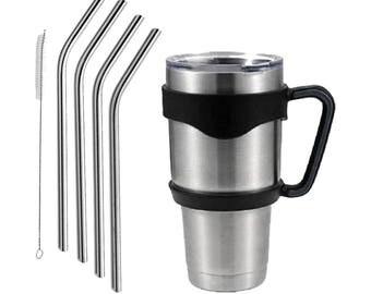 Yeti / Ozark Trail / RTIC 30oz & 20oz Handles with Stainless Steel Straws