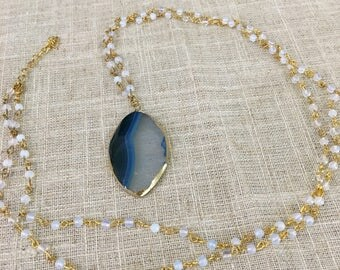 Blue and White Agate Necklace