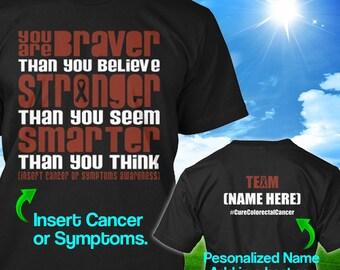 Personalized Colorectal Cancer Awareness Tshirt Brown Ribbon Braver Colon Survivor Custom T-shirt Apparel Unisex Women Youth Kids Tee