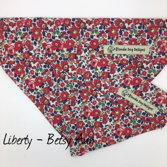 Dog Bandana, Liberty Print, Betsy Ann, Red, Pretty Bandana, Floral Bandana, Dog Bandana UK