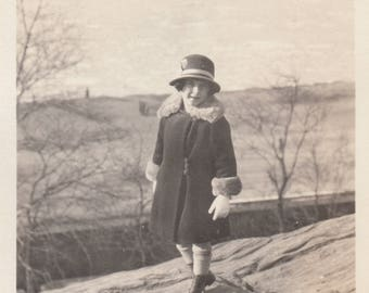 Vintage Photo Cute Girl Winter Coat Fashiong Posing Rock Photography Black & White Antique Ephemera Snapshot Found Art