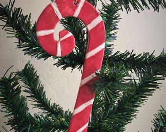 Ceramic Candy Cane Christmas Ornament