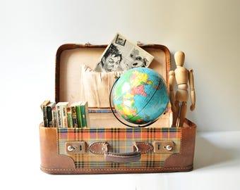 Vintage Plaid Suitcase  / Midcentury Travel Luggage / Tweed