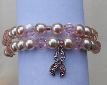 Small Breast Cancer Bracelet, double stranded
