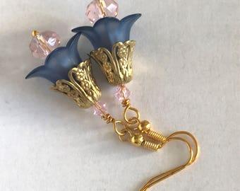 Victorian Flower Dangles-Lucite Flower Earrings-Blue Flower Dangles-Blue and Pink Dangles-Bridesmaid's Gift-Handmade Dangles